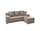 Ecksofa Siralo (mit Schlaffunktion) - Microfaser Beige - Longchair beidseitig montierbar, Home Design