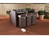 Luxus Garten-Bar Set LENOX aus Polyrattan, 6 Barhocker, 6 Sitzkissen, Tisch 167 x 81 cm, Höhe 113 cm