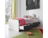 Kinder Einzelbett in Weiß-Anthrazit Anthrazit (3-teilig)