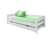 Funktionsbett Nik - Buche massiv - Weiß lackiert - Mit Bettkasten, Relita