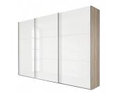 Schwebetürenschrank Struge I - Eiche Sägerau Dekor/Weißglas - Breite x Höhe: 270 x 210 cm - 2-türig, Wimex