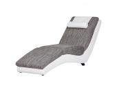 Relaxliege Carson - Kunstleder Weiß/Strukturstoff Hellgrau, roomscape