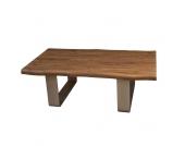 Wohnzimmertisch aus Nussbaum Massivholz Stahl