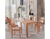 Kernbuche Tischgruppe Massiv 6 Holzstühle (7-teilig)