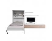 Schrankbett-Kombination Majano - 160 x 205 cm - Schaumstoffmatratze - Weiß / Eiche Sonoma Dekor, Modoform