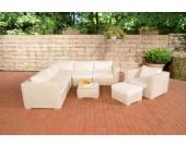Polyrattan Gartengarnitur ARIANO perlweiß, aus 5 mm Rund-Rattan, mit Aluminiumgestell (5er Sofa + Sessel + Hocker + Tisch + 10 cm dicke Polster + Kissen)