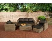 Polyrattan Gartengarnitur MADEIRA 3-1-1 natura, 3er Sofa & 2 Sessel inkl. Sitz- und Rückenpolster, Hocker, Tisch, FARBWAHL