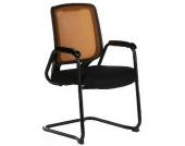 Konferenzstuhl / Freischwinger / Stuhl LAGO (2erPack/2 Stühle) Netzstoff schwarz / orange hjh OFFICE