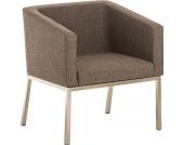 Edelstahl Lounge-Sessel NALA Stoff im Retro-Stil, mit Armlehne, Polsterstärke 8 cm, bis zu 7 Farben wählbar, Sitzhöhe 44 cm