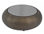 Tisch mit Glasplatte Tapo aus Polyrattan, braungold