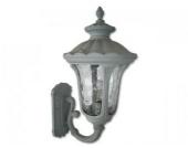 Außenlampe / Außenleuchte Rustika 1 Metall mit Glaseinsatz, Grau