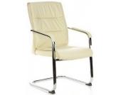 Konferenzstuhl / Freischwinger / Stuhl TRITON V (2erPack/2 Stühle) Kunstleder creme Chrom hjh OFFIC