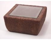 moebel direkt online Beistelltisch _ handgeflochtener Tisch _ mit Glasplatte _