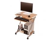 Computertisch in Buchefarben Rollbar