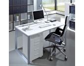 Computertisch mit Stahlgestell Weiß